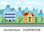 vector city with two story and... | Shutterstock .eps vector #1018989538