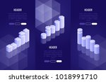 set of 3 business headers with... | Shutterstock .eps vector #1018991710