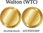set of physical golden coin...   Shutterstock .eps vector #1019005489
