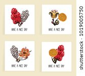 set of square cards. hand drawn ... | Shutterstock .eps vector #1019005750