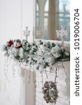 christmas decor on a white... | Shutterstock . vector #1019006704