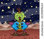 crazy strange space alien or... | Shutterstock . vector #1019009614