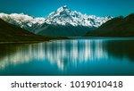 mount cook landscape reflection ... | Shutterstock . vector #1019010418