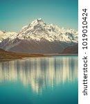 mount cook landscape reflection ... | Shutterstock . vector #1019010424