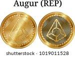 set of physical golden coin... | Shutterstock .eps vector #1019011528