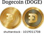 set of physical golden coin... | Shutterstock .eps vector #1019011708