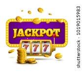 slot machine lucky sevens... | Shutterstock .eps vector #1019015983