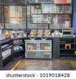 hotel breakfast buffet area ...   Shutterstock . vector #1019018428