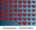 red heart vector set icon... | Shutterstock .eps vector #1019019859
