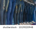 torn fashion jeans on sale at...   Shutterstock . vector #1019020948