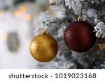 christmas tree decoration on... | Shutterstock . vector #1019023168