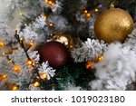 christmas tree decoration on... | Shutterstock . vector #1019023180