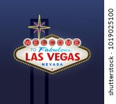 welcome to fabulous las vegas... | Shutterstock .eps vector #1019025100