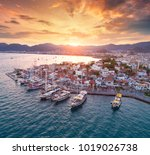 aerial view of boats and yachts ... | Shutterstock . vector #1019026738