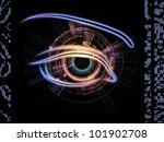 Design composed of eye outlines, numbers, fractal and abstract design elements as a metaphor on the subject of mechanical progress, artificial intelligence, virtual reality and digital imaging - stock photo