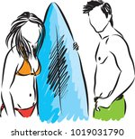 surfers man and woman vector... | Shutterstock .eps vector #1019031790