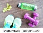 fitness equipment  dumbbell... | Shutterstock . vector #1019048620