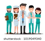 doctor and nurse medical set in ... | Shutterstock .eps vector #1019049340