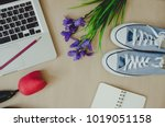 top view of a laptop with a... | Shutterstock . vector #1019051158
