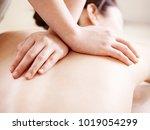 close up of hands of a masseuse ... | Shutterstock . vector #1019054299