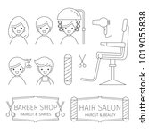 barber shop outline icons set ... | Shutterstock .eps vector #1019055838