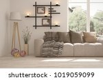 idea of white room with sofa... | Shutterstock . vector #1019059099