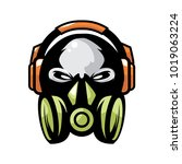 skull headphone and gas mask | Shutterstock .eps vector #1019063224