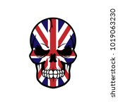 uk flag skull vector... | Shutterstock .eps vector #1019063230