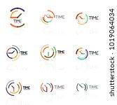 vector abstract logo idea  time ...   Shutterstock .eps vector #1019064034