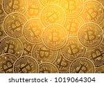 bitcoin digital currency golden ... | Shutterstock .eps vector #1019064304