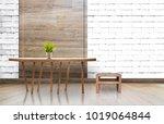 mock up empty room with wooden... | Shutterstock . vector #1019064844