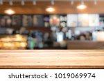 empty wooden table for present...   Shutterstock . vector #1019069974