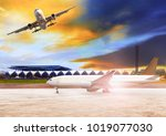 air plane flying and... | Shutterstock . vector #1019077030