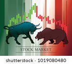 bull and bear  symbols of stock ... | Shutterstock .eps vector #1019080480
