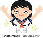 girl's japanese student sailor... | Shutterstock .eps vector #1019081440