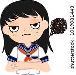 girl's japanese student sailor... | Shutterstock .eps vector #1019081443