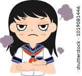 girl's japanese student sailor... | Shutterstock .eps vector #1019081446