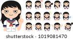 girl's japanese student sailor... | Shutterstock .eps vector #1019081470