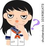 girl's japanese student sailor... | Shutterstock .eps vector #1019081473