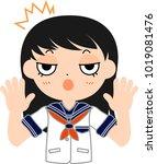 girl's japanese student sailor... | Shutterstock .eps vector #1019081476