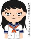 girl's japanese student sailor... | Shutterstock .eps vector #1019081479
