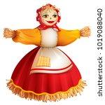 straw stuffed woman for russian ...   Shutterstock .eps vector #1019088040