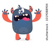 scary cartoon black monster... | Shutterstock .eps vector #1019088904