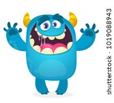 cute furry blue monster. vector ... | Shutterstock .eps vector #1019088943