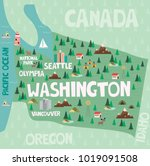 illustrated map of the state of ... | Shutterstock .eps vector #1019091508