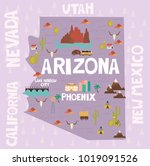 illustrated map of the state of ... | Shutterstock .eps vector #1019091526