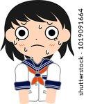 girl's japanese student sailor... | Shutterstock .eps vector #1019091664