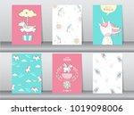 set of cute fantasy poster... | Shutterstock .eps vector #1019098006