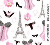 seamless pattern with beautiful ... | Shutterstock .eps vector #1019100394