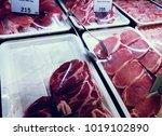 variety of pork slices packed...   Shutterstock . vector #1019102890